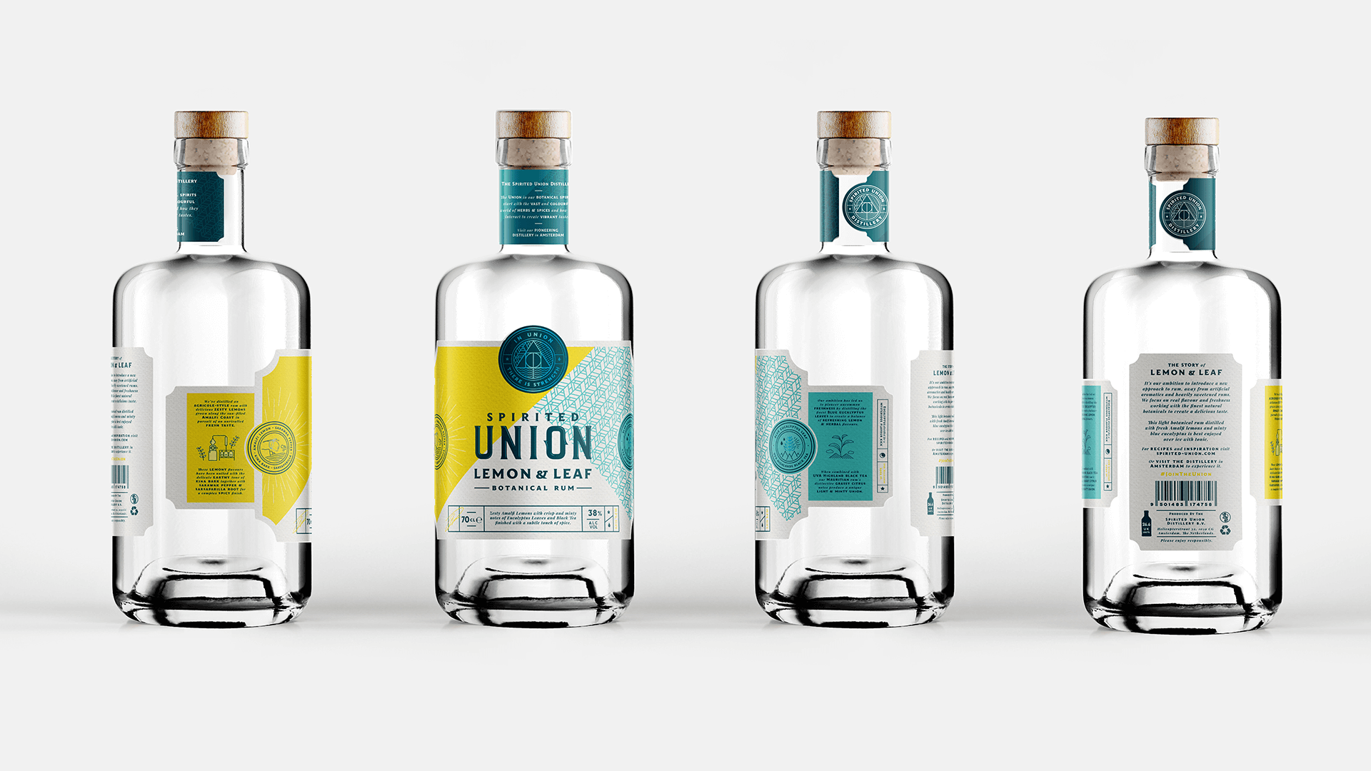 Spirited Union Distillery Lemon and Leaf white Rum, label design, Packaging Design, Iconography, Logo and New Product Development created by Mutiny Agency.