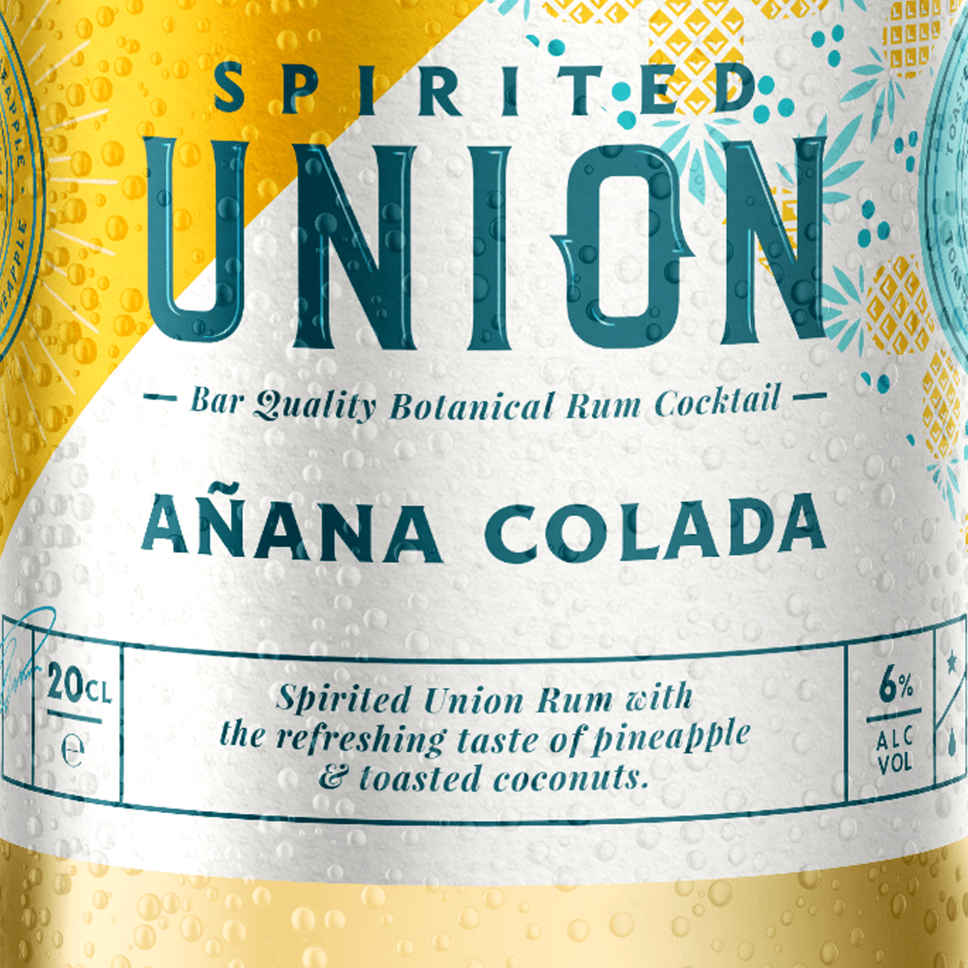 Spirited Union Distillery created a range of rum cocktails , Anana Colada is a blend of Spirited Union Rum with the refreshing taste of pineapple and toasted coconuts. Mixed by mixologists for you to enjoy in your own home. Branding and label design, Packaging Design, Iconography, Logo and New Product Development created by Mutiny Agency.