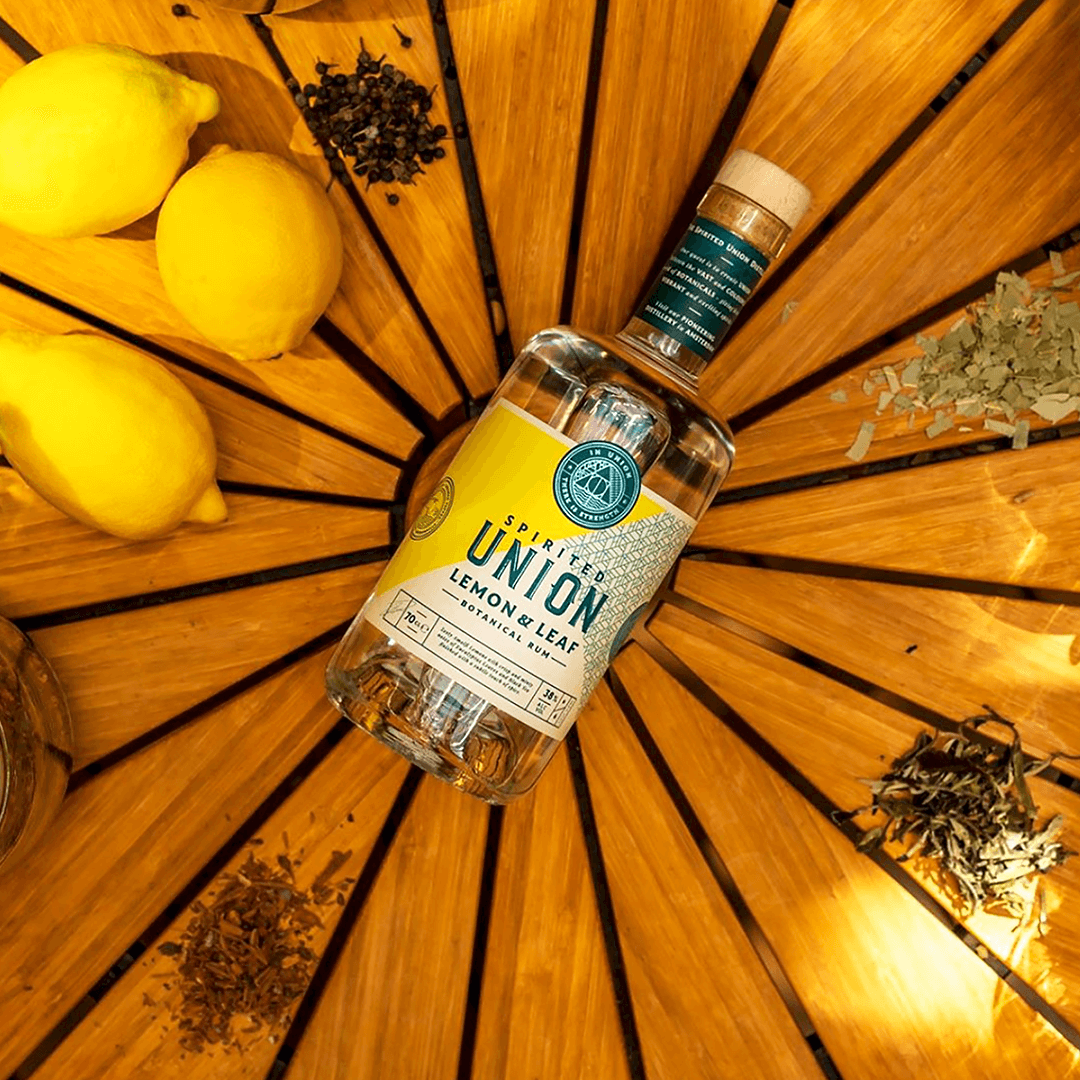 Spirited Union Distillery created the worlds first white rum 'Lemon & Leaf'  with label design and illustration created by Mutiny Agency.  Amalfi Lemon and Eucalyptus botanical white rum has ingredients from high and low altitudes to create a whole new take on what a white rum can be, with brand and packaging designed by Mutiny Agency we capture the zing and hue of the flavour profiles and crafted beautiful copywriting to match.