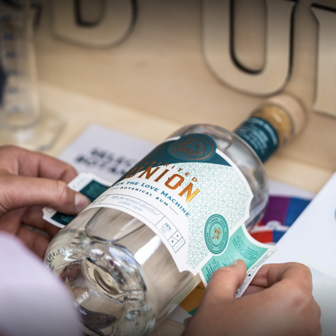 Spirited Union offer personalised labels designed by Mutiny Agency. Branding and label design, Packaging Design, Iconography, Logo and New Product Development created by Mutiny Agency for Spirited Union Distillery.