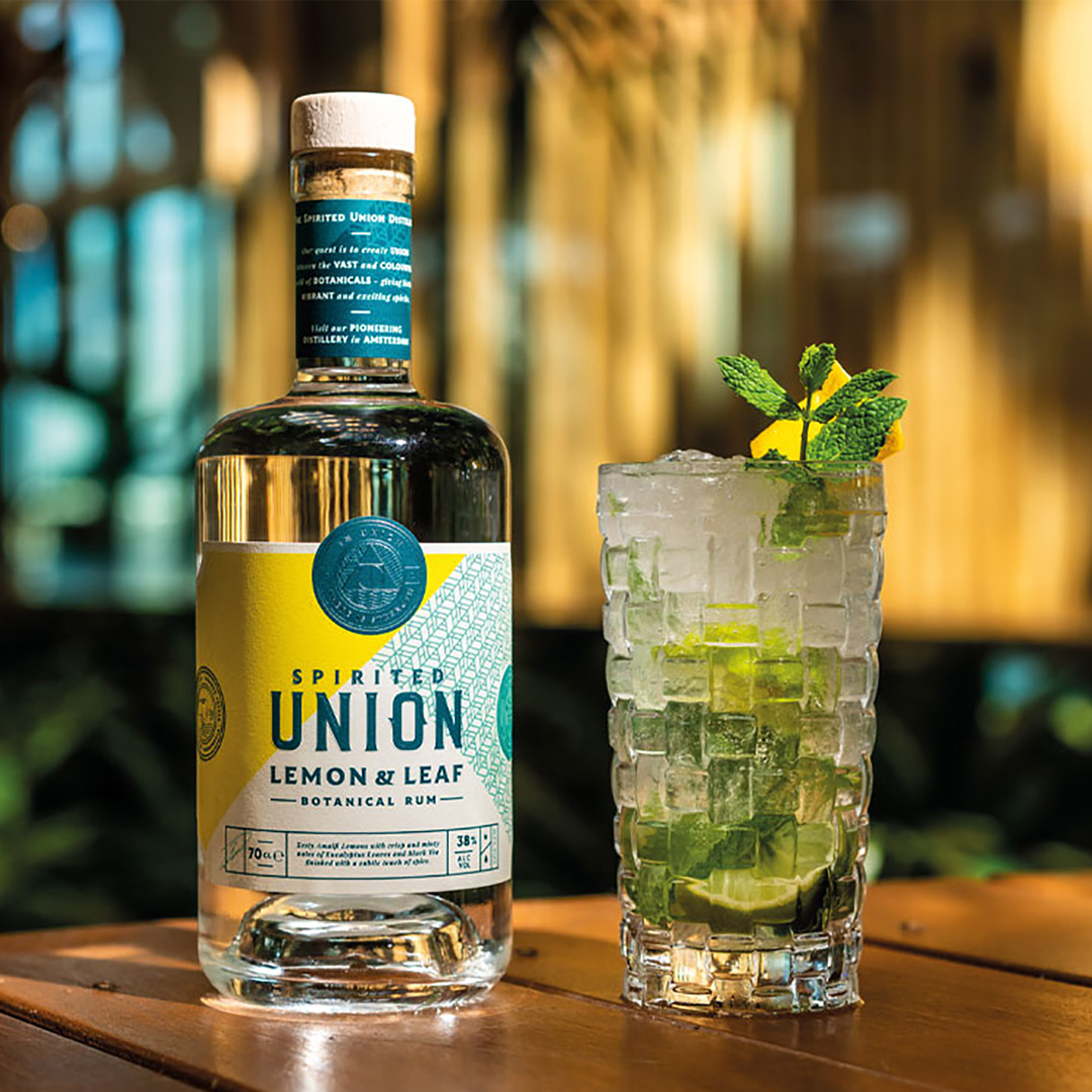 Spirited Union Distillery Lemon and Leaf Botanical Rum cocktail, packaging, logo, illustration and brand design by Mutiny Agency.