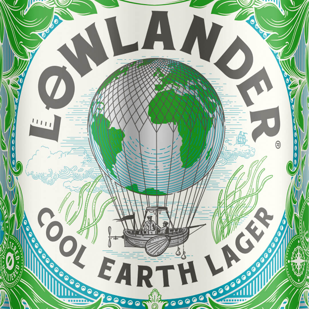 Lowlander Cool Earth Lager can design by Mutiny Agency
