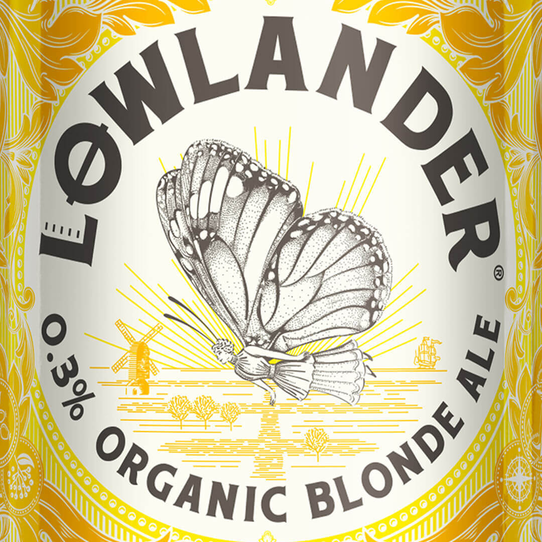 Lowlander Botanical Beer Award winning packaging design by Mutiny Agency  for Lowlander 0.3% Organic Blonde Beer packaging tells  The Butterfly Effect story that inspired this beautiful Butterfly illustration label design. In 1699 the pioneering naturalist Maria Sibylla Merian travelled from Amsterdam to Surinam to study her great passion, butterflies. Mutiny Agency reflect the call of curiosity which leads Lowlander  to wander, foraging in meadows & hedgerows for ingredients like wild elderberry & rosehip for this deliciously light, alcohol-free blonde ale.