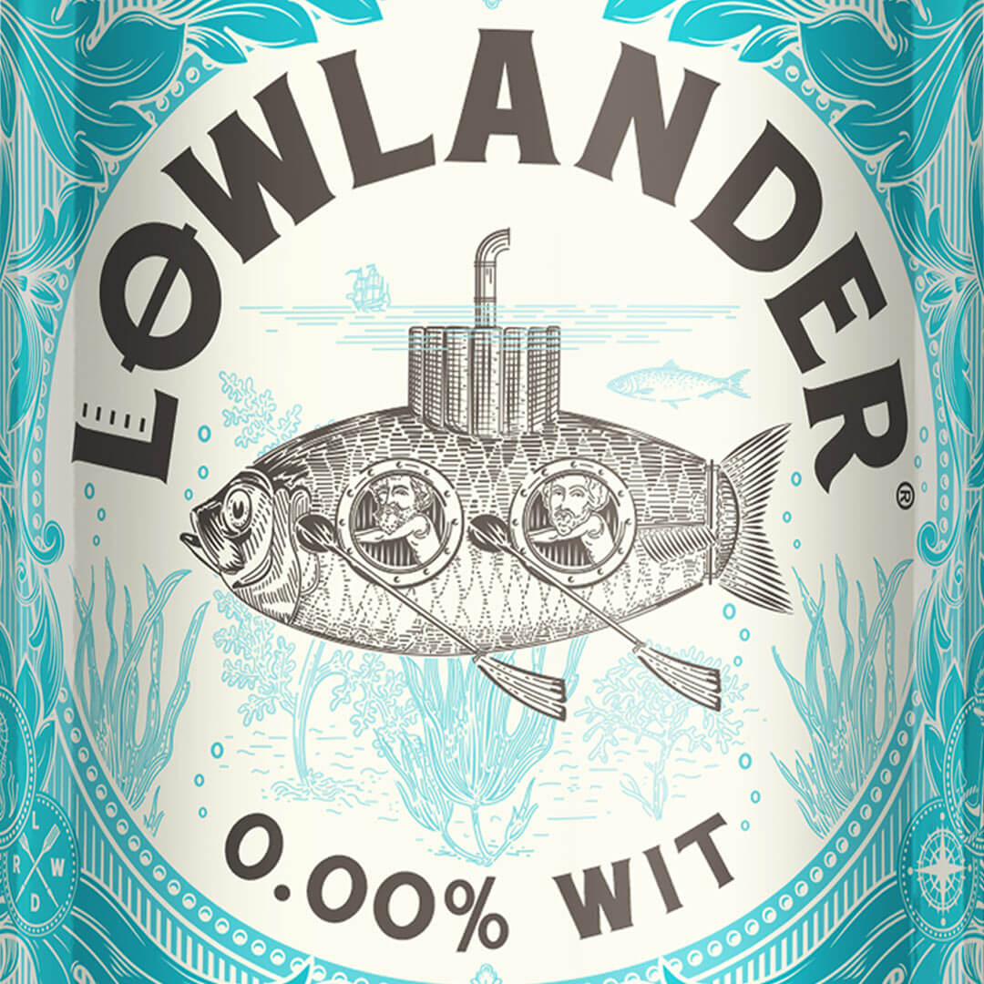 Lowlander Beer Award winning packaging design by Mutiny Agency for Lowlander 0.00 WIT tells the story of Dutch Inventor Drebbel who took King James I down the Thames in the first ever submarine, little did he know he would inspire Mutiny Agency and Lowlander Beer to create a 0.00% Wit beer that is a testament to his ingenuity, a zero alcohol & zero waste beer that tastes good & makes good use of orange & lemon peel surplus from bars & restaurants.