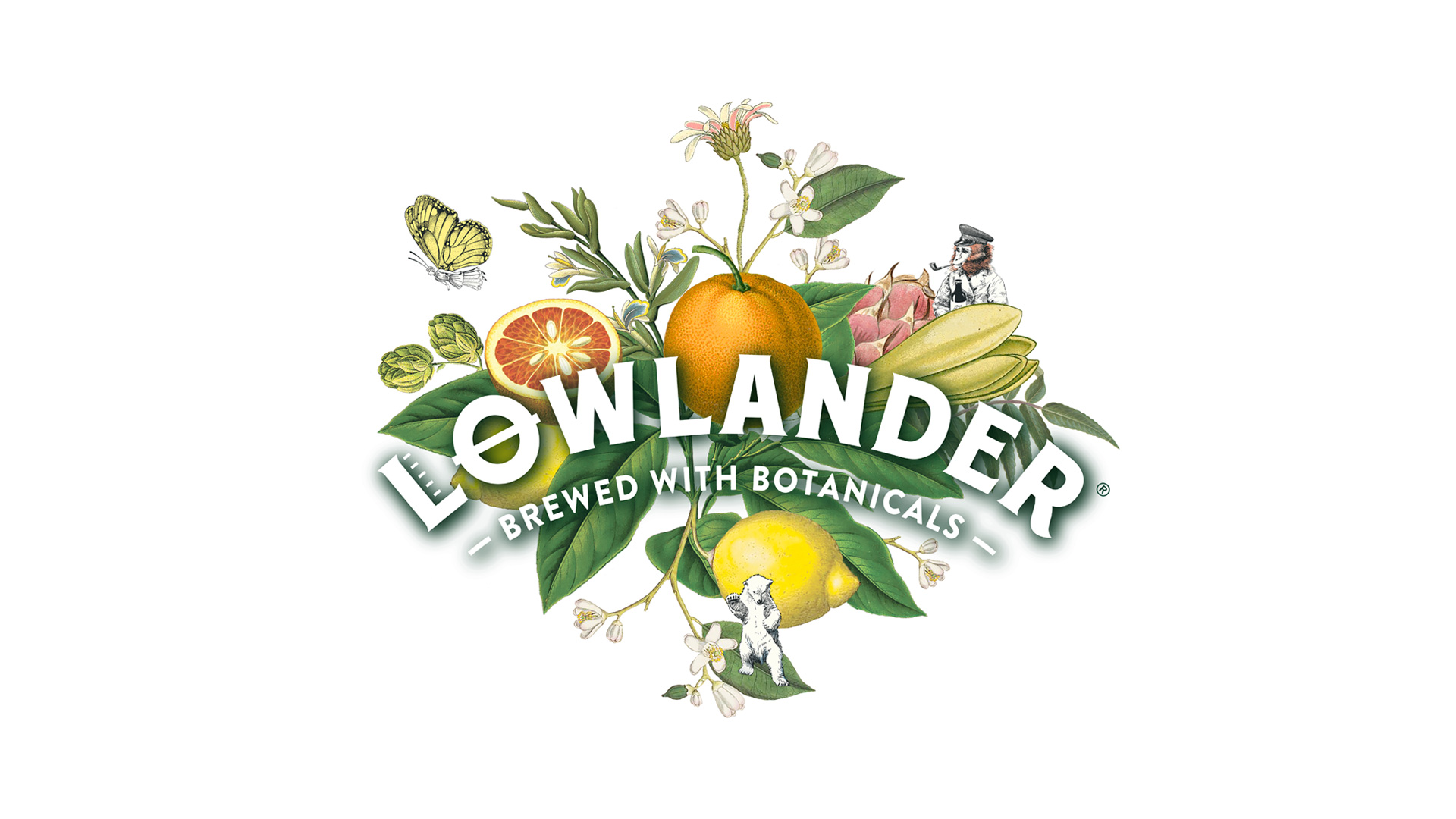 Lowlander Botanical Beer range designed and illustrated by Mutiny Agency, butterfly illustration, monkey illustration. Botanical fruit design.