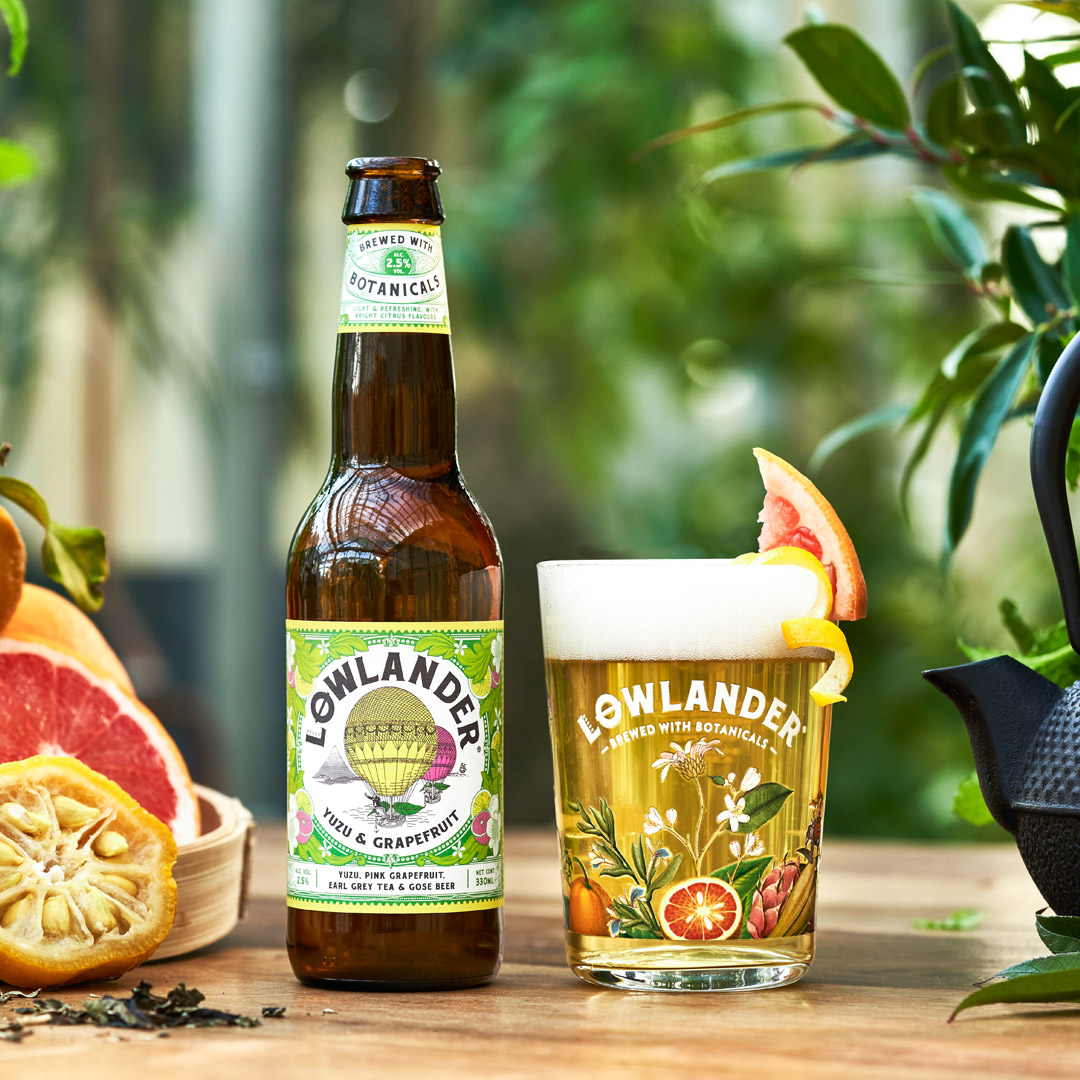 Lowlander Botanical Beer, Branding Packaging and copywriting created by Mutiny Agency. Creative work developed for effective design across Cans bottles tap lens and coaster/ beer mat and beautiful glass wear. Story development and content creation developed, written and designed by Mutiny Agency for Lowlander Botanical Beer. Botanical illustrations and hot air balloon illustration for yuzu and grapefruit beer were all created by Mutiny Agency.