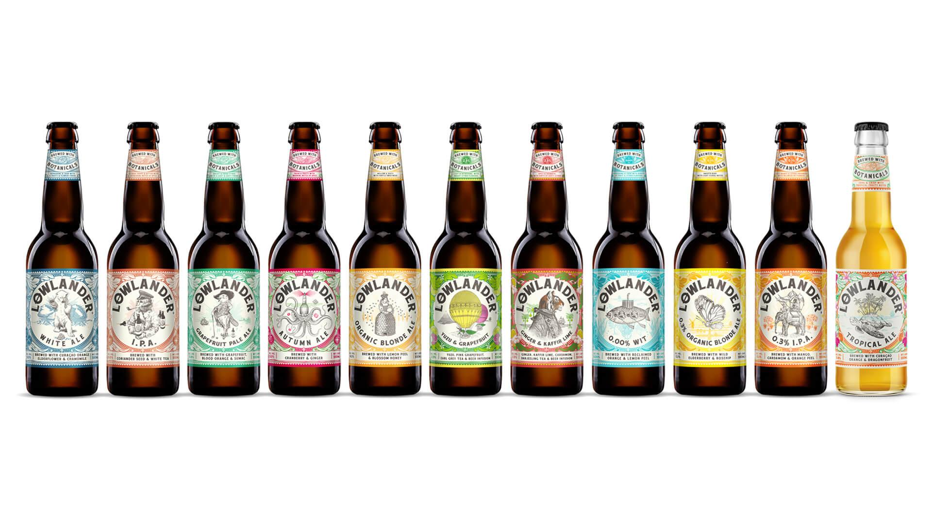 Lowlander Beer bottle label design by Mutiny Agency