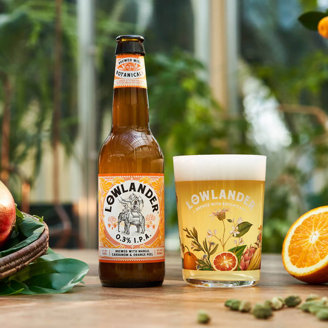Lowlander Botanical beer, beautiful packaging, bottle labels and glassware designed and illustrated by Mutiny Agency .
