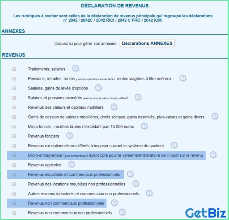 declaration revenus auto entrepreneur