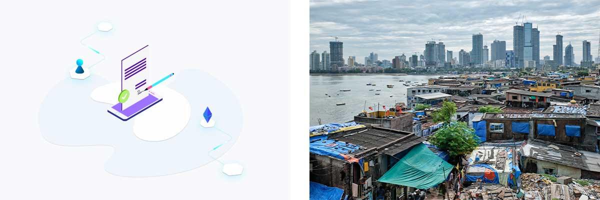 Visualisierung eines Smart Contracts auf der Ethereum-Blockchain und ein Slum-Viertel in Bandara, Indien (von links nach rechts)