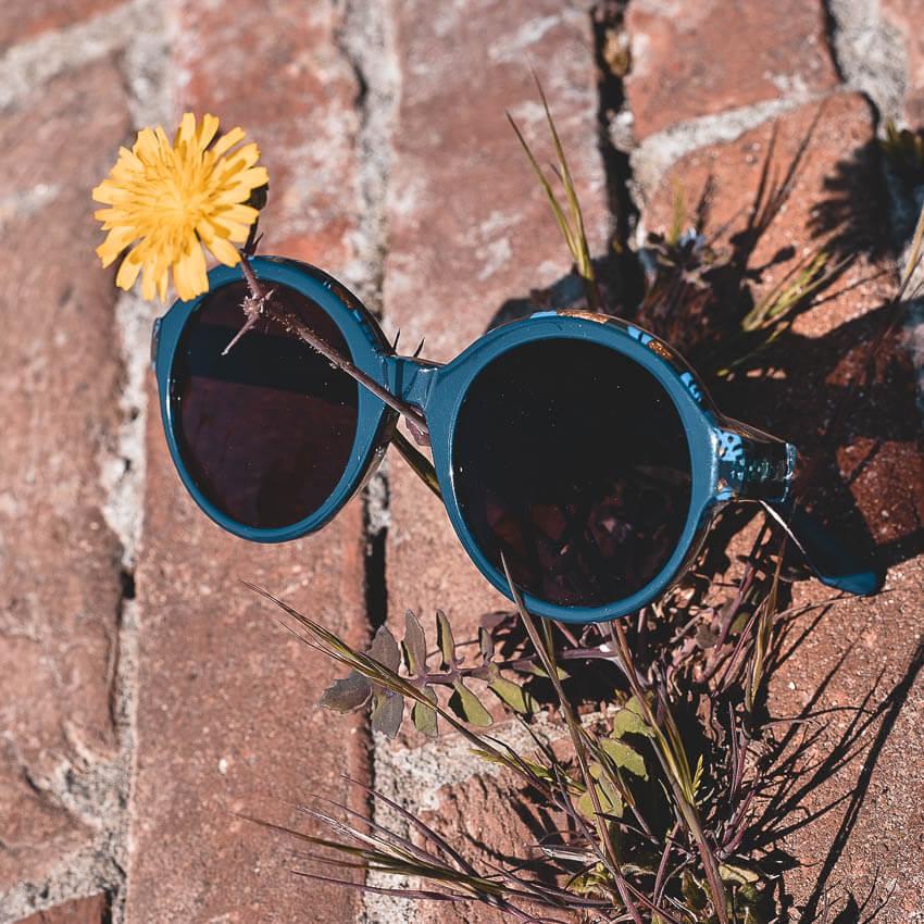 Eine Sonnenbrille von Peppler Augenoptik in Gießen liegt auf einer Backstein-Mauer. Finden Sie in unserer großen Auswahl an Marken-Sonnenbrillen Ihr neues Lieblingsmodell.