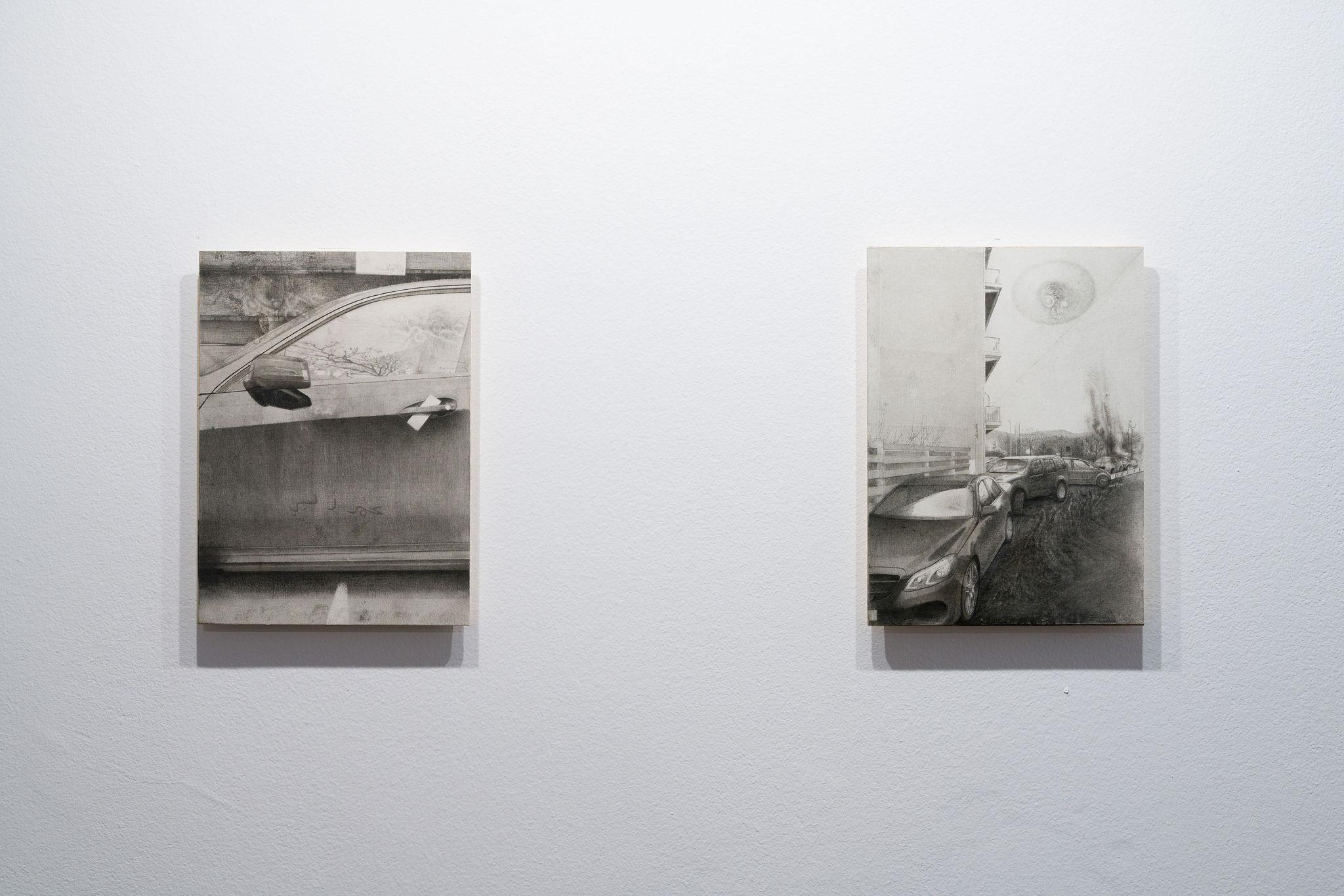 Soft UFO, 2021 & Hard UFO, 2021, both Graphite on paper mounted on wood