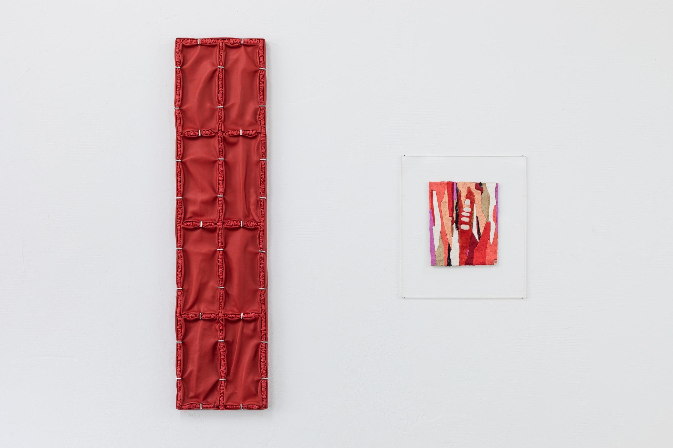 Manon Wertenbroek, Bren pour luy, 2021, wood, leather, pigment, palladium-plated brass. Lissy Funk, Little Love Declaration (Kleine Liebeserklärung), 1989, hand embroidery.