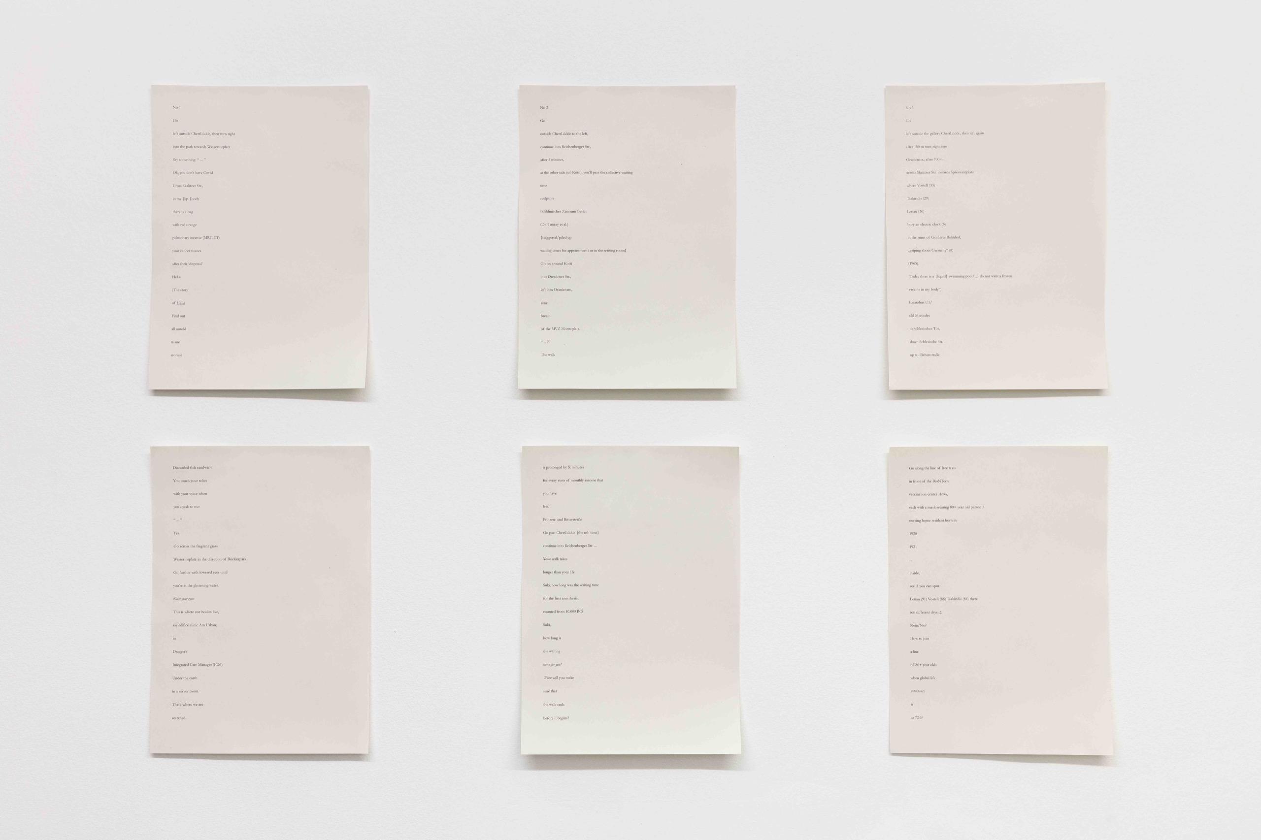 Daniel Falb, Three Walks, 2021, Ink on paper, audio, 6 elements