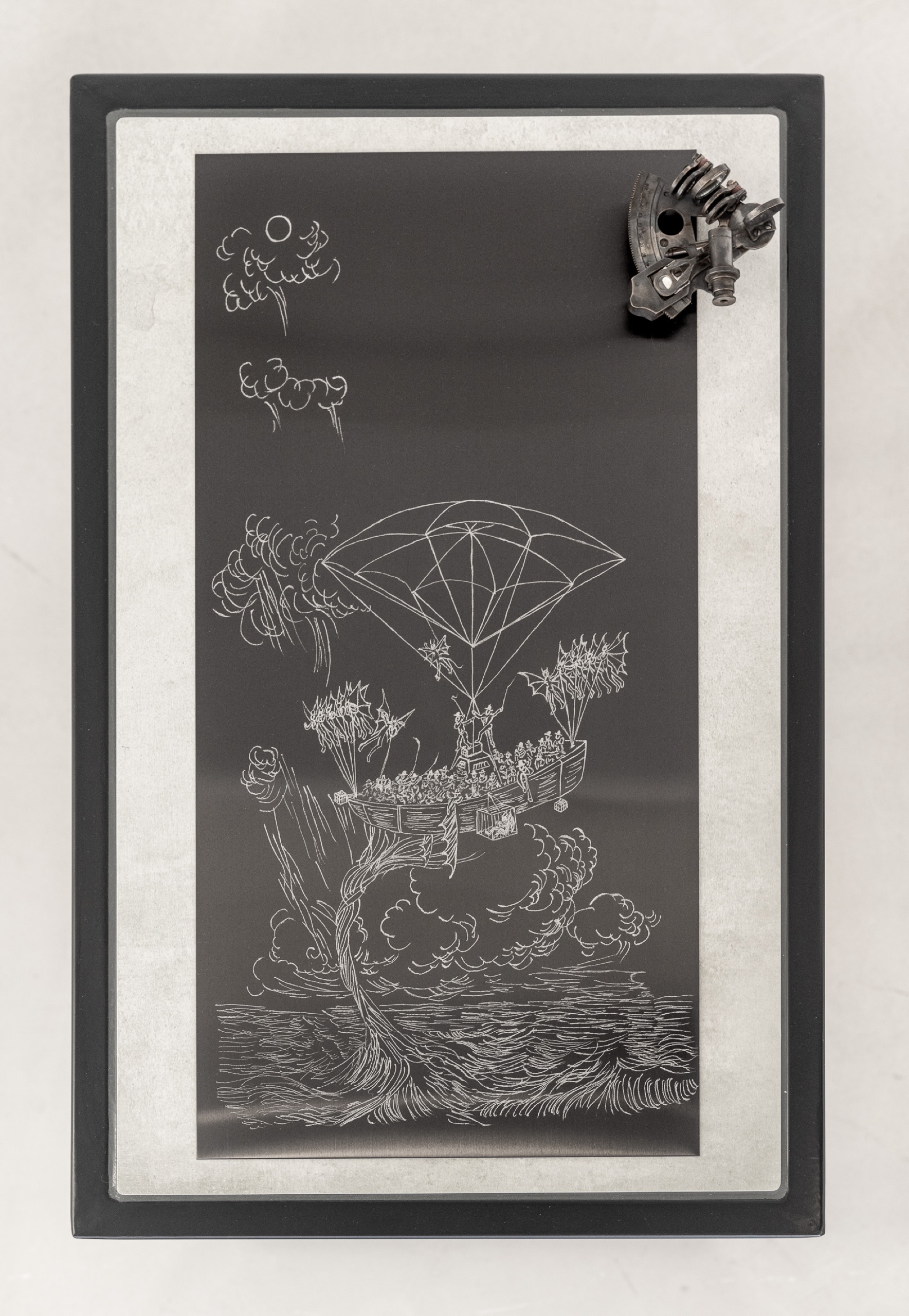 Cole Lu, Across the deck, I can hear my mother gasp at the sound of rattling metal. (…) (The ocean is near, the sea, far), 2021, black-brushed stainless-steel, sextant