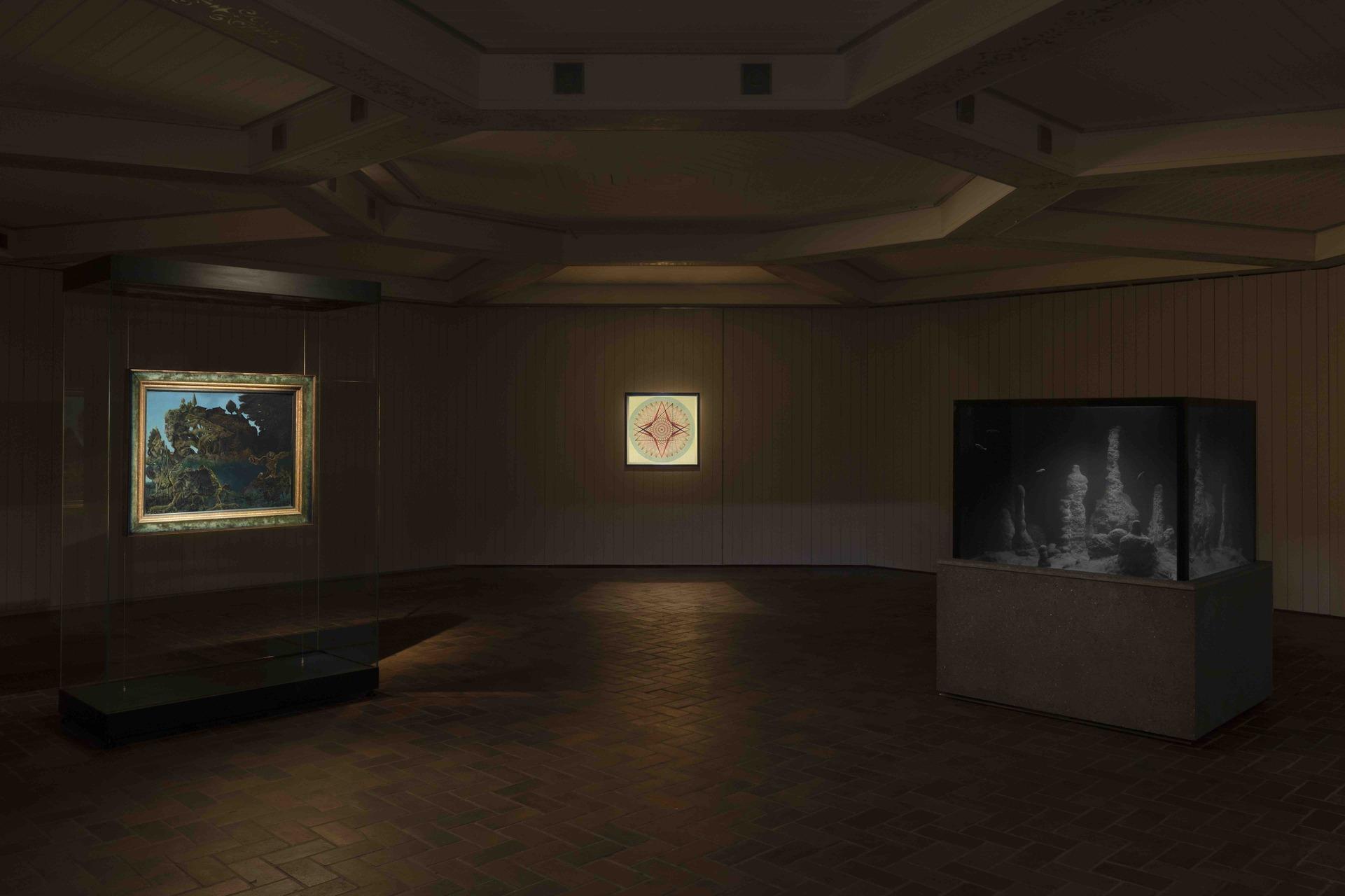 Installation view from left to right: Max Ernst, Emma Kunz, Pierre Hughye