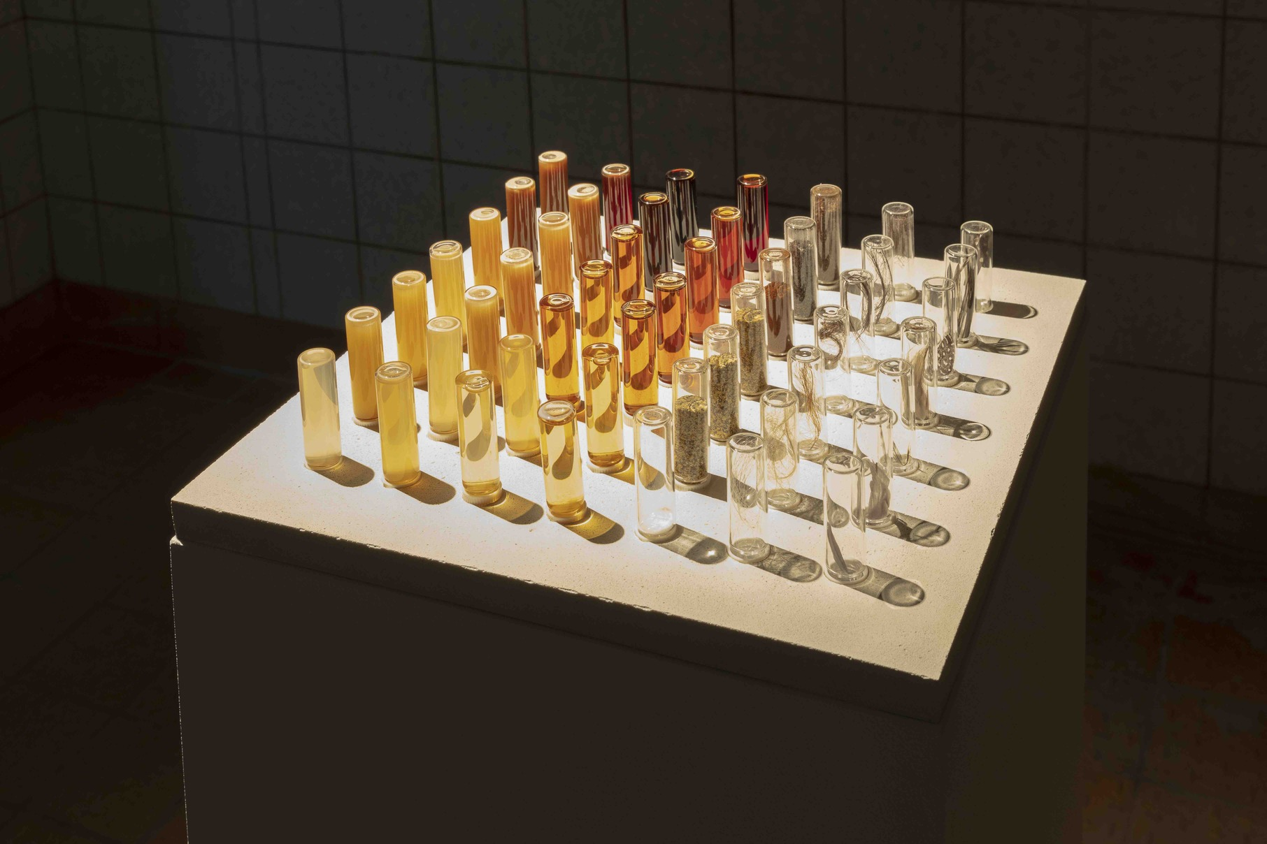 Neri Oxman, Melanin Library, 2020, Concrete base, glass screw top vials containing a variety of organically and synthetically sourced melanin