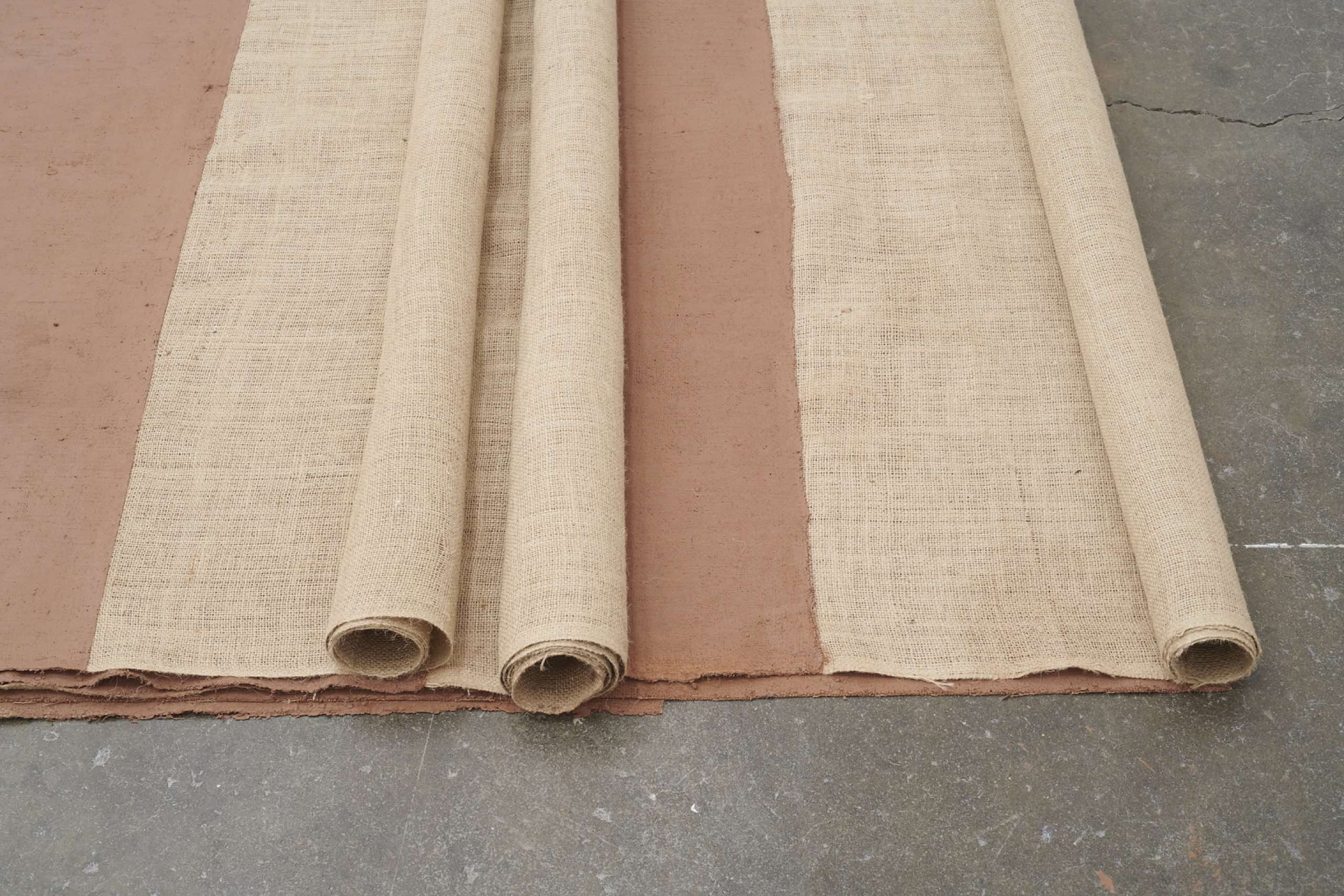 Delcy Morelos Paisaje (Landscape), 2021, Fertile soil, clay, cocoa powder, ground cloves, and water, mixed and applied onto burlap
