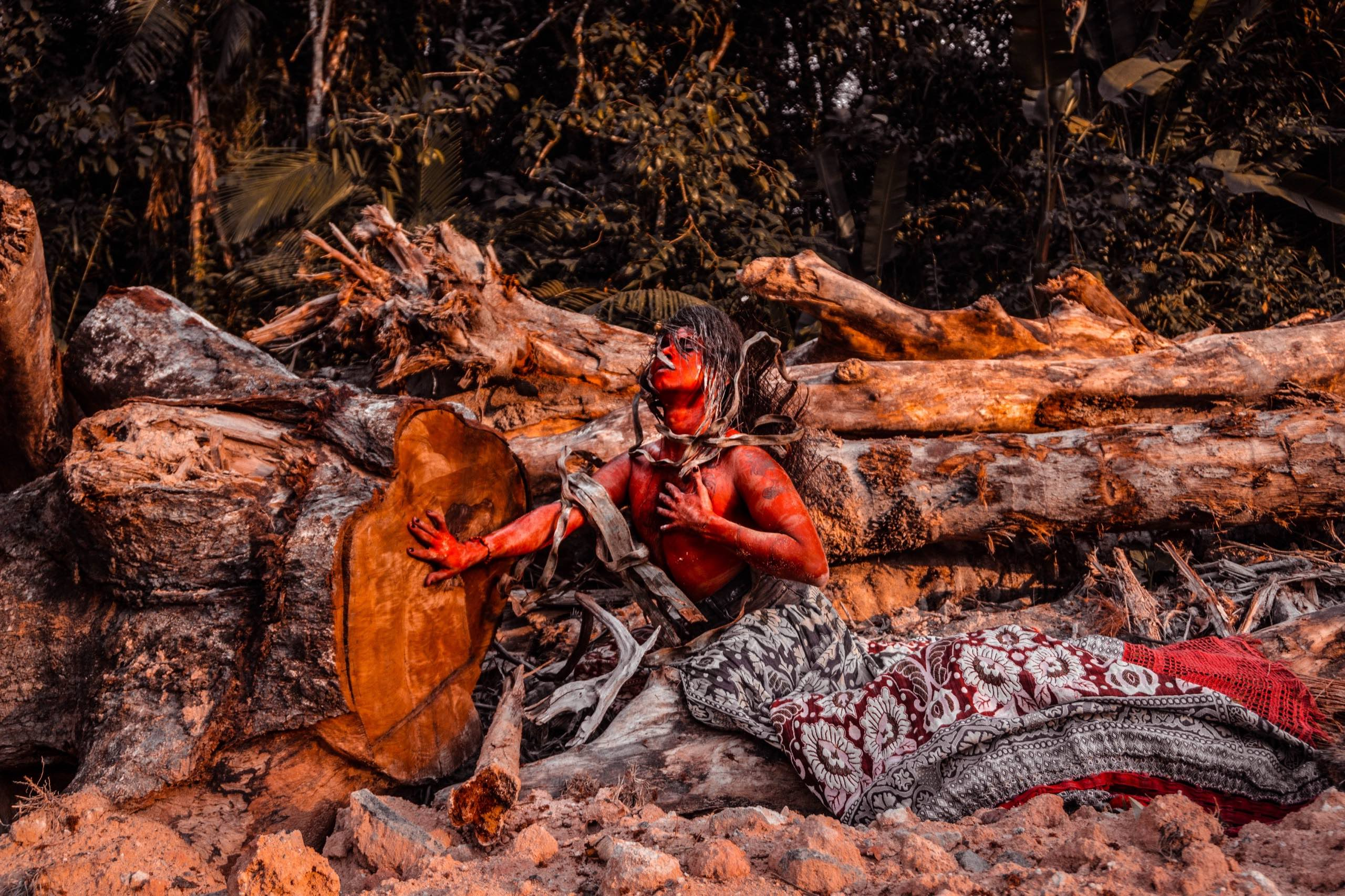 Emerson Uýra, Série A Última Floresta (Ensaio Terra Pelada) / The Last Forest Series (Naked Earth Essay), 2018, Digital print on metal, Photo by Matheus Belém