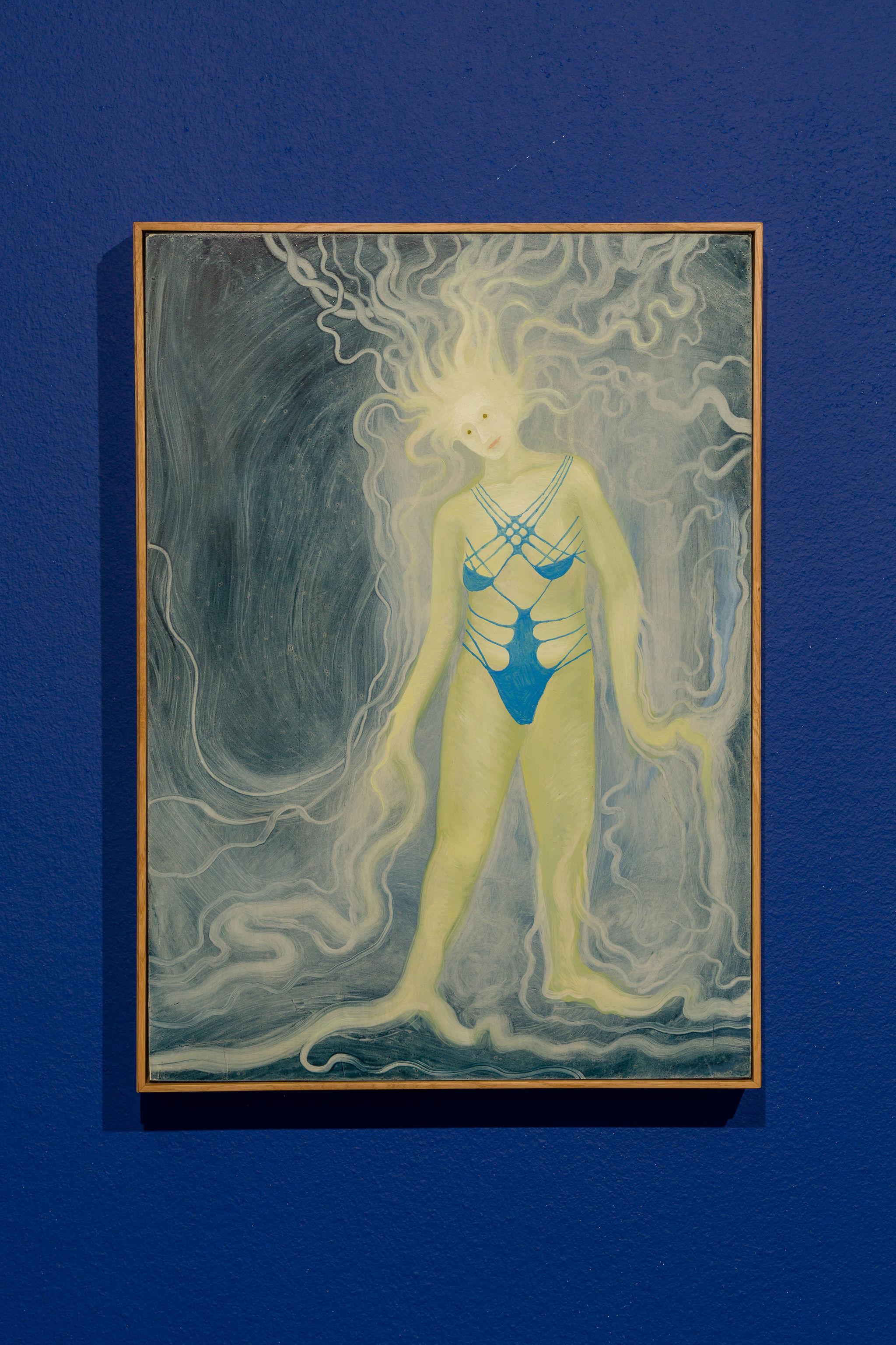 Hortensia Mi Kafchin, Gaia in a Bathing Suit, 2021, Oil on wood