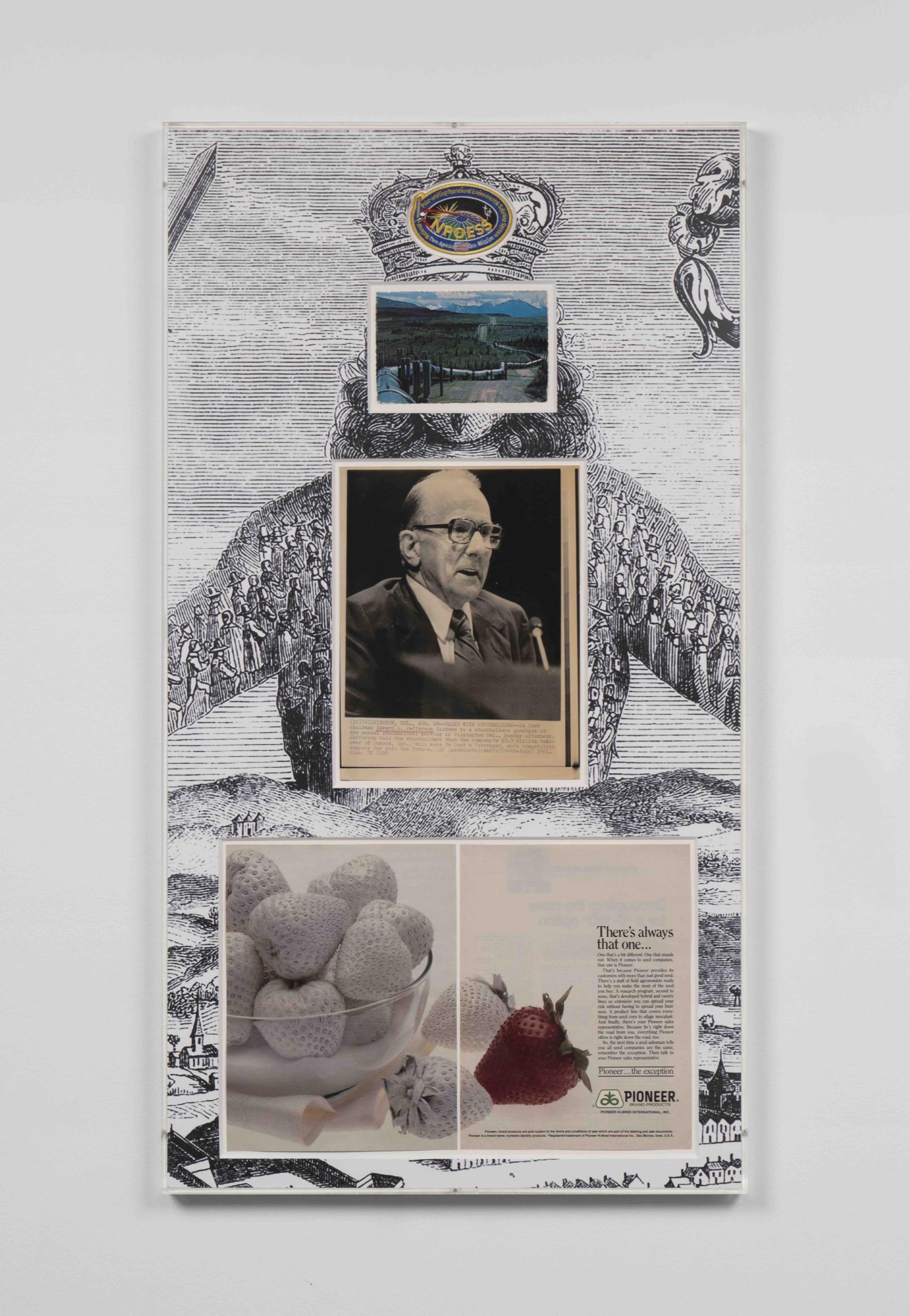 Executive Decision, postcard, patch, press photo, maga- zine clipping, UV print on Matte board, 2021