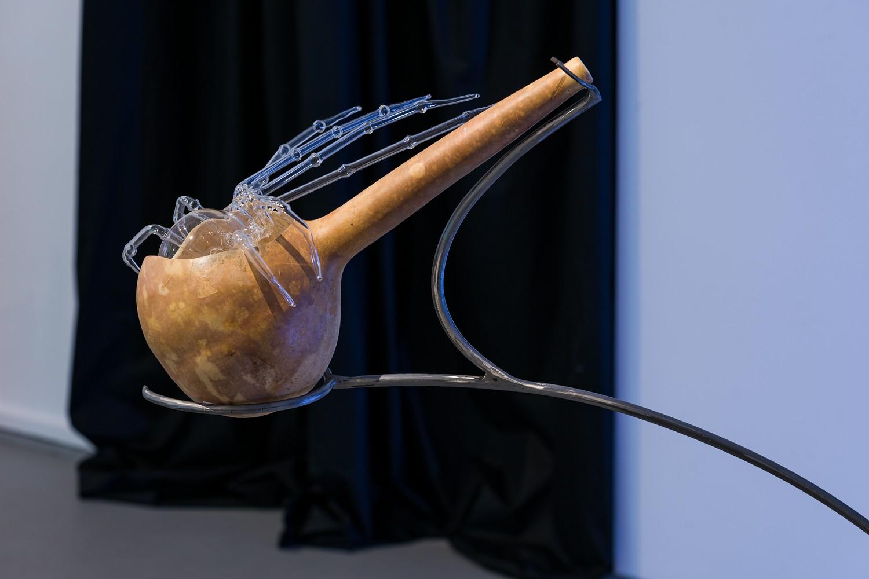 "Mihaela Vasiliu (Chlorys), ""Instrument (gourd)"", 2021, steel, gourd, ceramic, mouth blown glass, 2021"