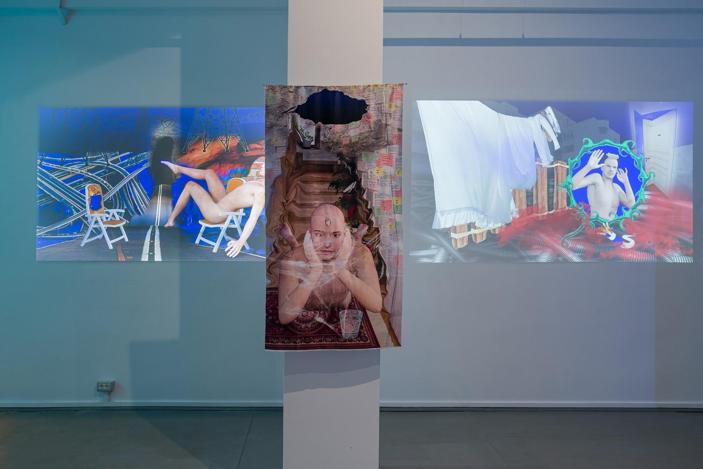 """Nicoleta Mureș, """"The Hymn of Fallen Dreams"""", video loop, 2021; """"Find It in Your Eyes"""", 2021, print on textile, """"Before You Wake Up"""", video loop, 2021"""