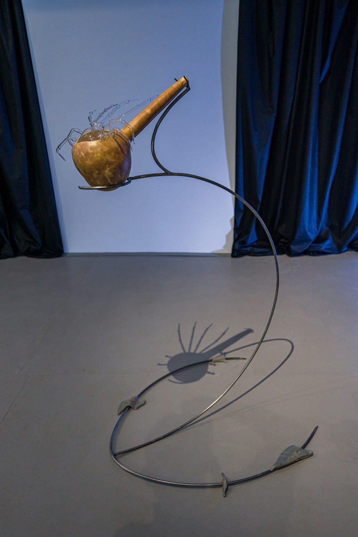 "Mihaela Vasiliu (Chlorys), ""Instrument (gourd)"", steel, gourd, ceramic, mouth blown glass, 2021,"