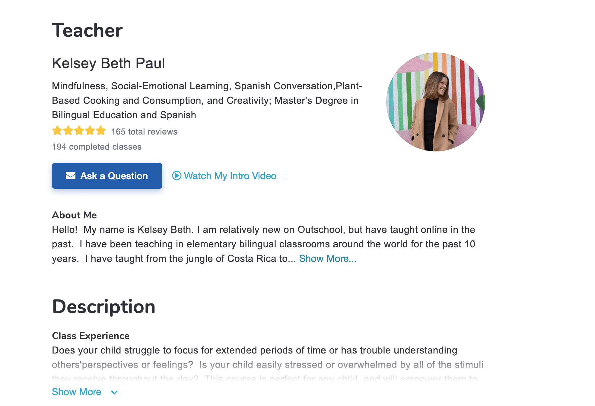 Pictured is a teacher profile on the online marketplace Outschool