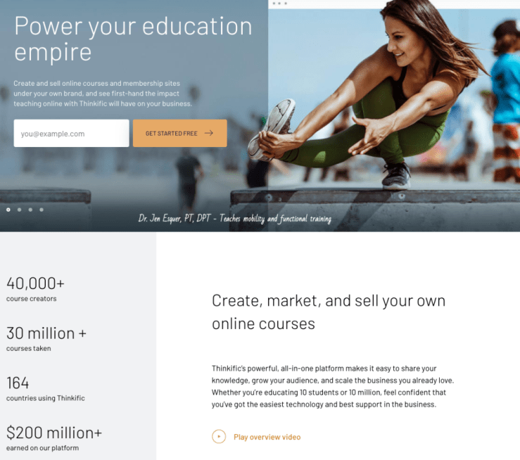 Pictured is Thinkific, a site where you can sell your own online courses