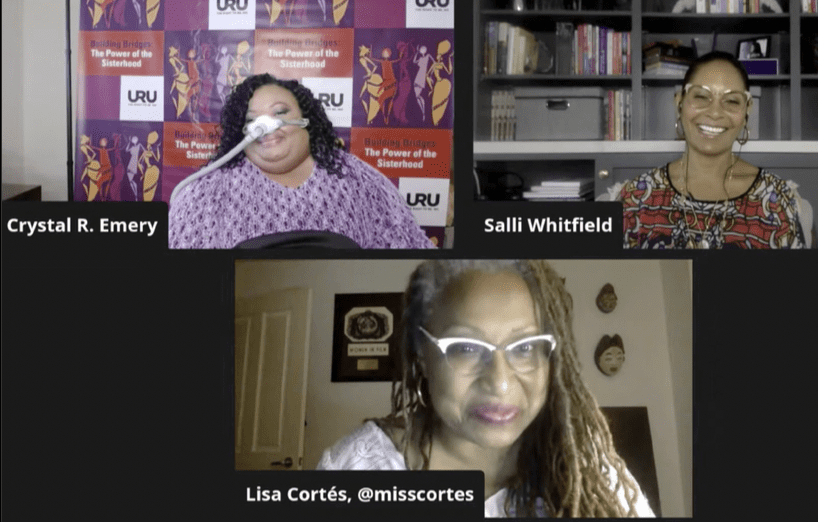 Screenshot of a virtual conversation with three black women, crystal emery, salli whitfield and lisa cortes