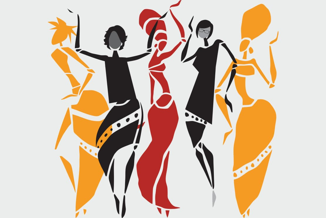 graphic of five women silhouettes in sassy poses with headpieces