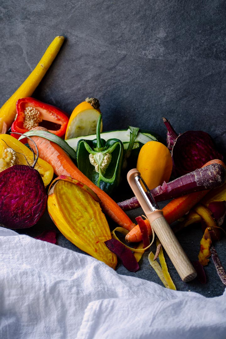 The Peelgood homepage image. Partially peeled vegetable still life.