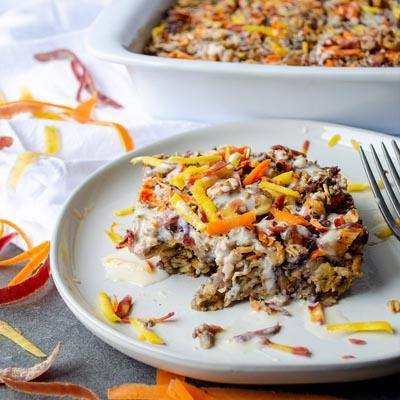 Instagram post of baked carrot cake oat bar.