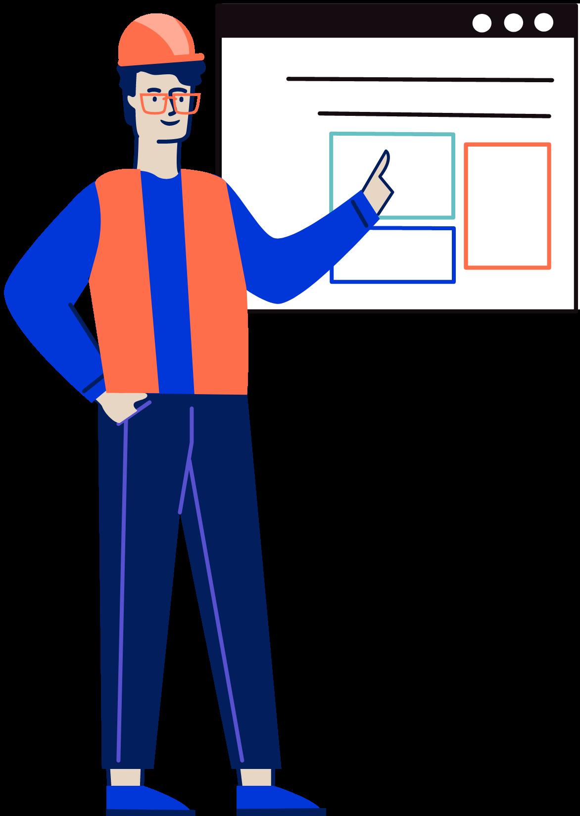 Veyor worker pointing