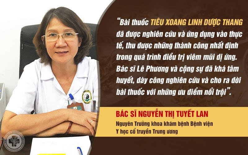 Đánh giá của bác sĩ Nguyễn Thị Tuyết Lan về bài thuốc Tiêu xoang linh dược thang