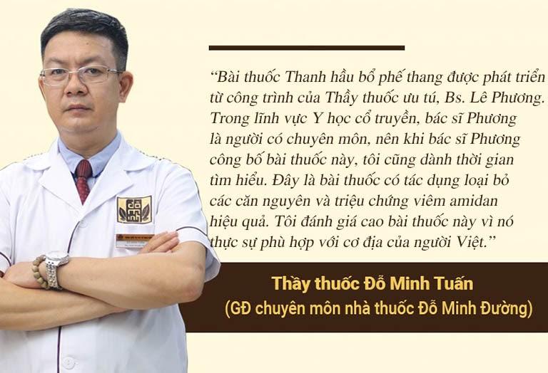 Nhận xét của lương y Đỗ Minh Tuấn về bài thuốc Thanh hầu bổ phế thang
