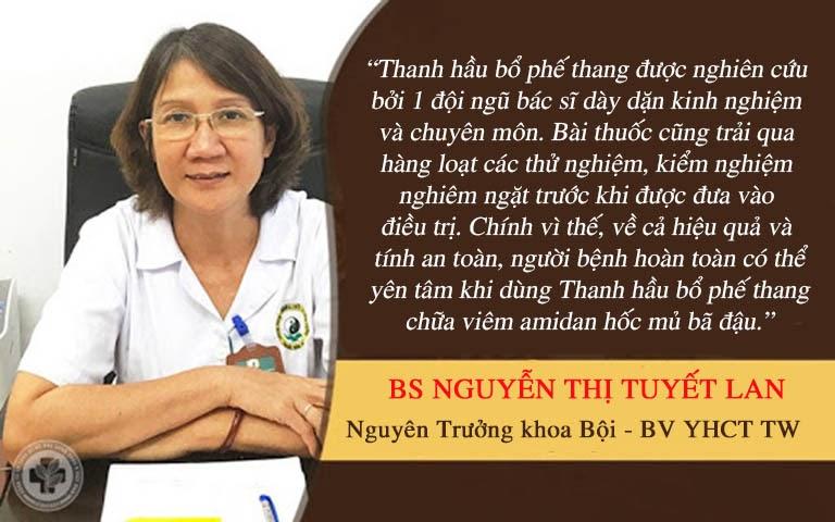 Nhận xét của Ths.Bs Nguyễn Thị Tuyết Lan về viêm Amidan hốc mủ bã đậu