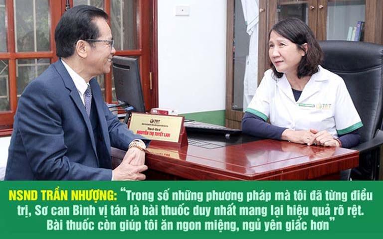 Nghệ sĩ Trần Nhượng chia sẻ sau khi sử dụng Sơ can Bình vị tán