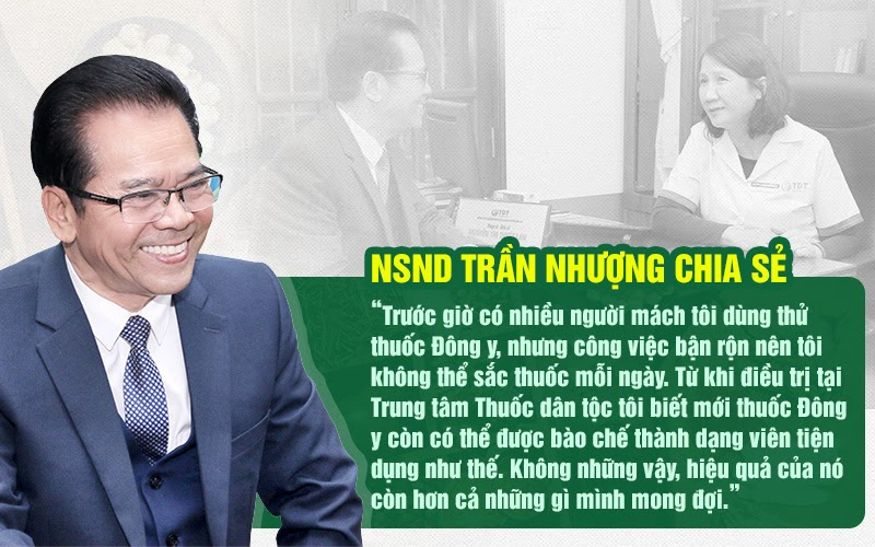 NSND Trần Nhượng đã tin tưởng và điều trị thành công chứng bệnh dạ dày tại Trung tâm Thuốc dân tộc