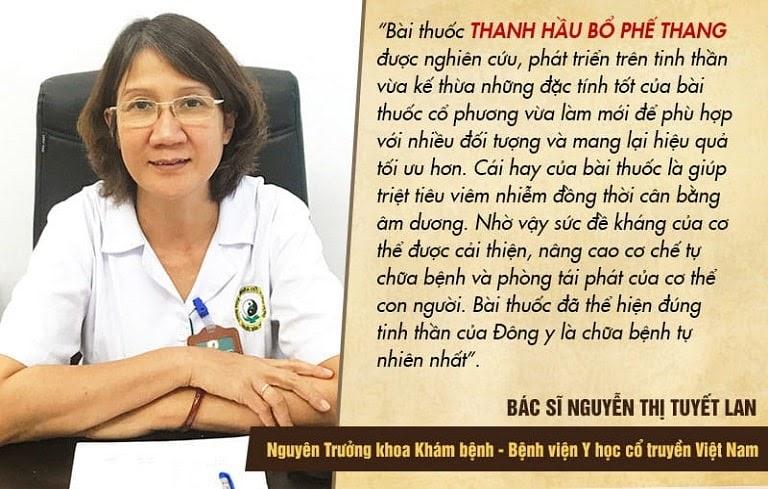 Bác sĩ Tuyết Lan đánh giá về bài thuốc Thanh Hầu Bổ Phế Thang