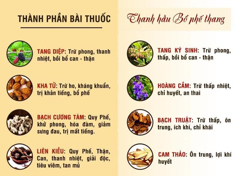 Thành phần thuốc Thanh Hầu Bổ Phế Thang kết hợp theo nguyên tắc Bổ chính khu tà