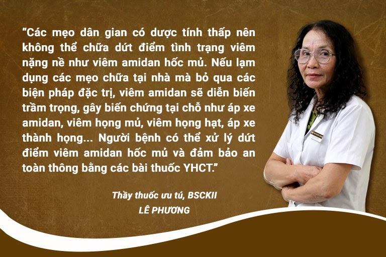Bác sĩ Lê Phương nói về việc điều trị bệnh bằng mẹo tại nhà