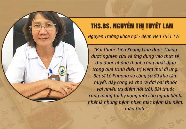 Đánh giá của Bác sĩ Tuyết Lan với bài thuốc Tiêu Xoang Linh Dược Thang