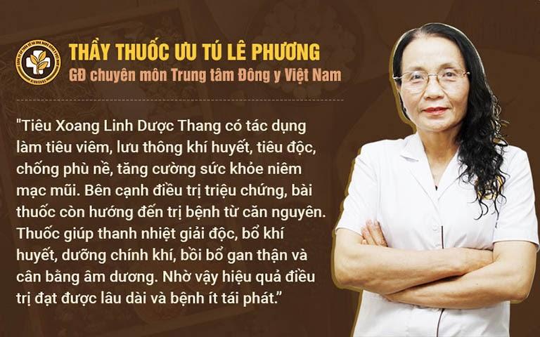 Bác sĩ Lê Phương nói về cơ chế điều trị của Tiêu Xoang Linh Dược Thang
