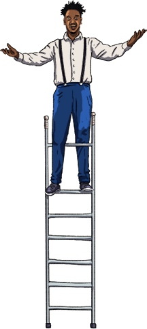 Illustration of a man on top of a ladder
