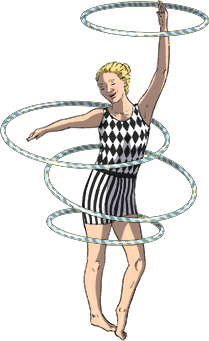 Illustration of Leo hoola hooping