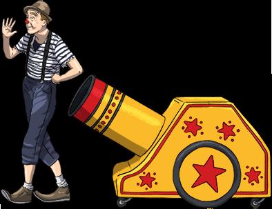 Illustration of Pete in clown attire