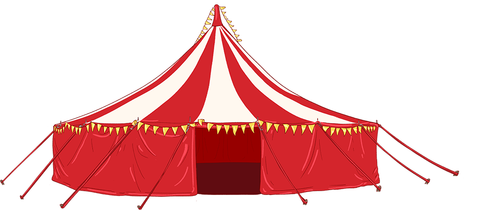 Illustration of a red and white circus tent
