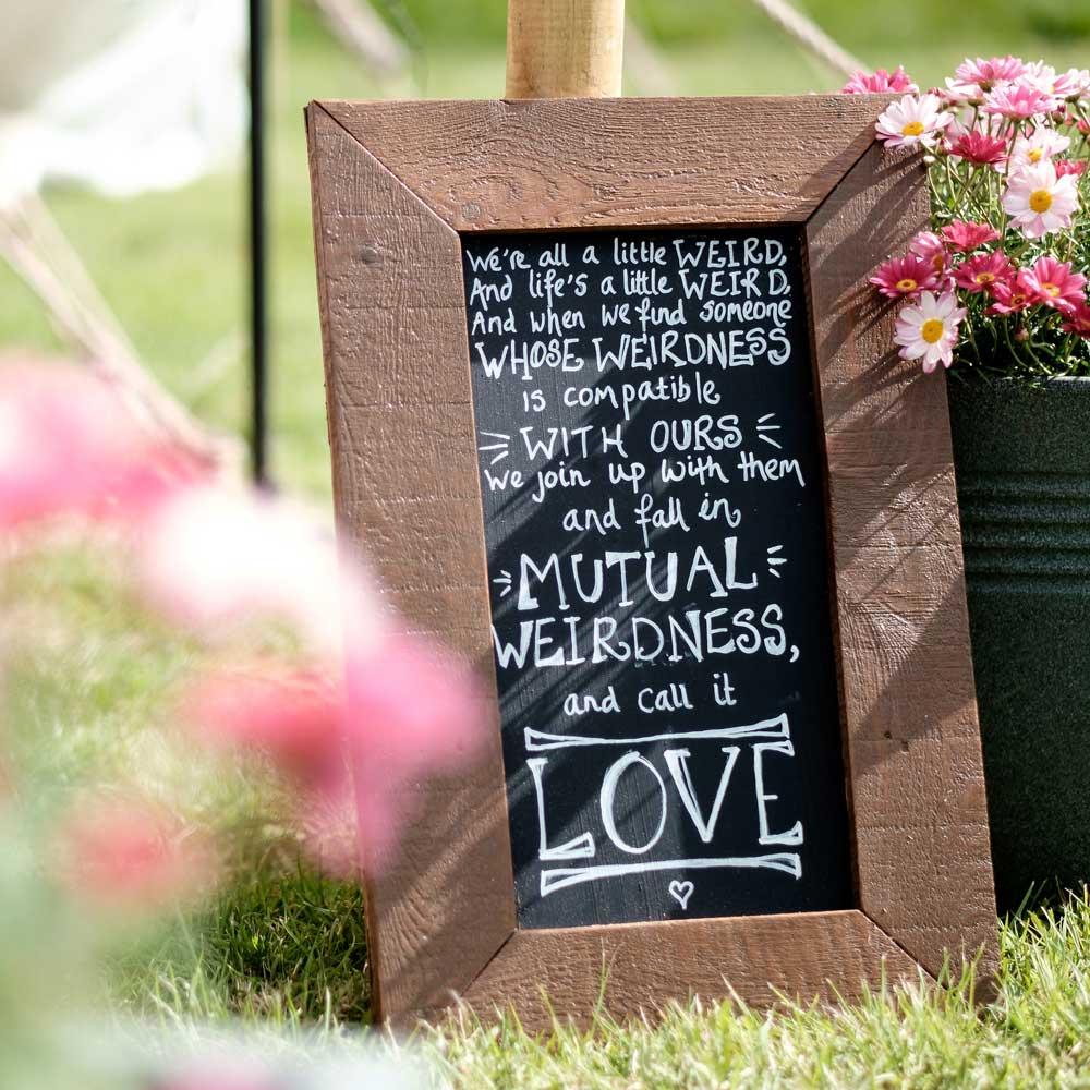 A wedding sign
